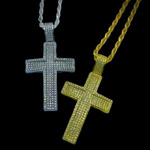 Other - 925 Sterling Silver Iced Out Cross Pendant